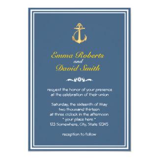 Convites azuis do casamento da beira do dobro da convite 12.7 x 17.78cm
