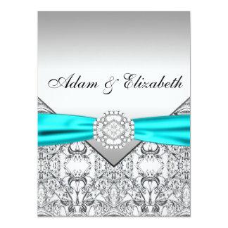 Convites azuis do casamento da cerceta de prata