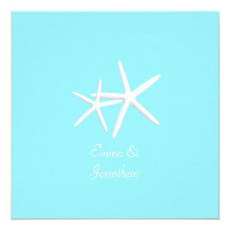 Convites azuis do casamento de praia da estrela do