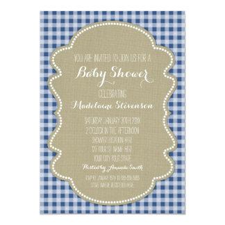 Convites azuis do chá de fraldas de serapilheira convite 12.7 x 17.78cm