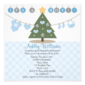 Convites azuis do chá de fraldas do Natal