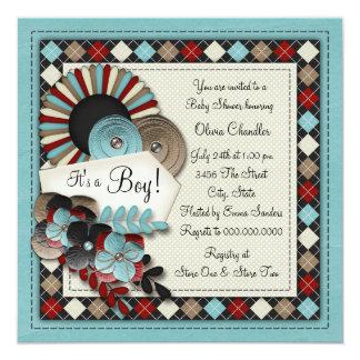 Convites azuis do chá do bebé de Brown Argyle