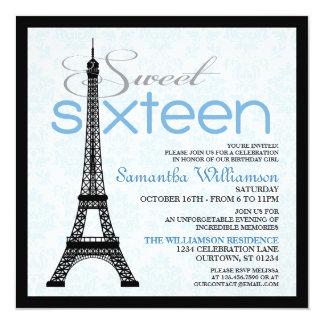 Convites azuis do doce 16 de Paris