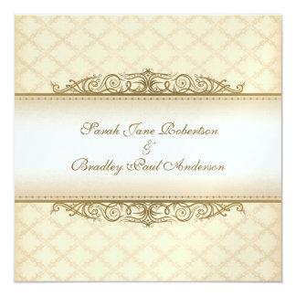 Convites barrocos acolchoados ouro do casamento do