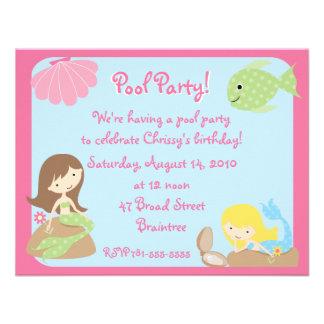 Convites bonitos da festa na piscina da sereia do