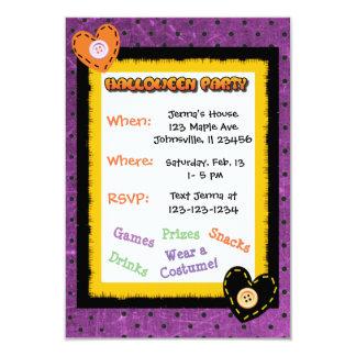 Convites bonitos de Purple Heart o Dia das Bruxas