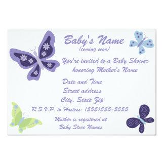 Convites bonitos do chá de fraldas da borboleta