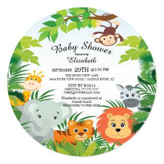 Convites bonitos do chá de fraldas do safari de convite quadrado 13.35 x 13.35cm