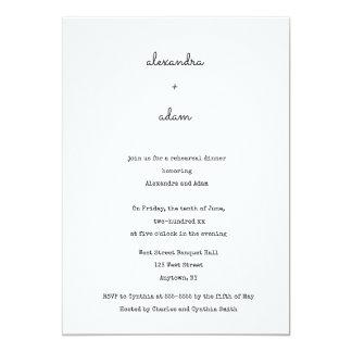 Convites bonitos do jantar de ensaio da tipografia