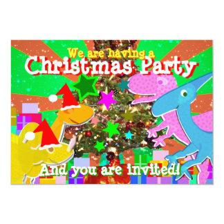 Convites bonitos dos dinossauros da festa de Natal