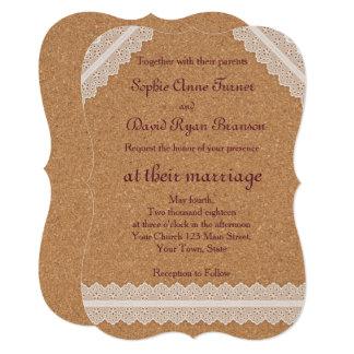 Convites brancos do casamento da cortiça do vinho