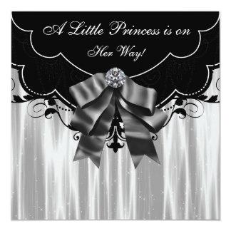 Convites brancos pretos da princesa chá de fraldas