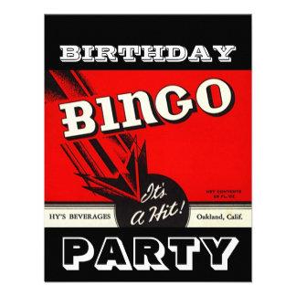 Convites brancos pretos vermelhos do Bingo do part