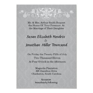 Convites cinzentos do casamento do floco de neve