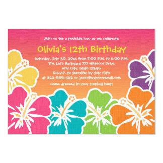 Convites coloridos do aniversário do hibiscus