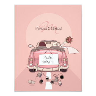 Convites cor-de-rosa bonitos do carro de fuga da