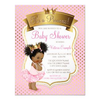 Convites cor-de-rosa da princesa chá de fraldas do