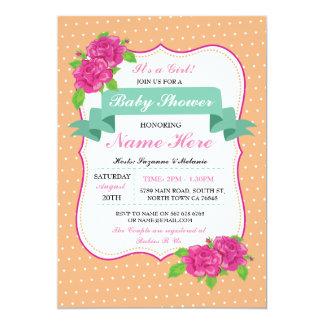 Convites cor-de-rosa das bolinhas do chá de