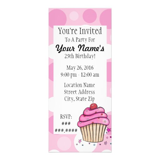 Convites cor-de-rosa das bolinhas do cupcake