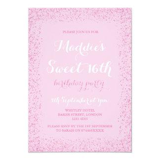 Convites cor-de-rosa do aniversário do brilho