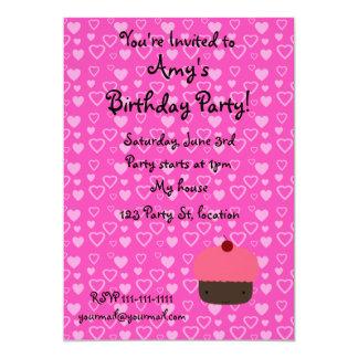 Convites cor-de-rosa do aniversário do cupcake dos convite 12.7 x 17.78cm