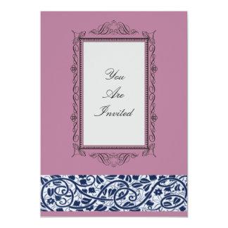 Convites cor-de-rosa do casamento da moldura para