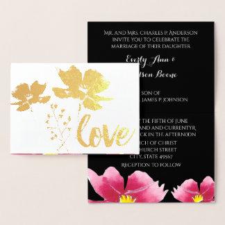 Convites cor-de-rosa do casamento da tipografia da