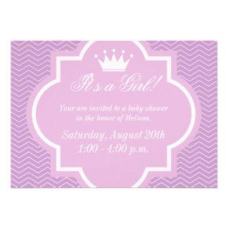 Convites cor-de-rosa do chá de fraldas com coroa d