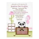 Convites cor-de-rosa do chá de fraldas da panda
