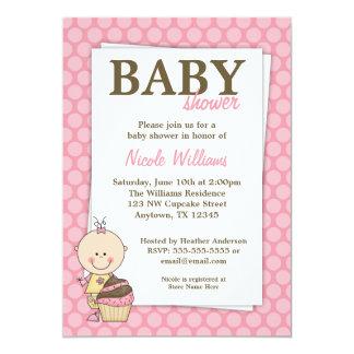 Convites cor-de-rosa do chá de fraldas das convite 12.7 x 17.78cm