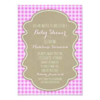Convites cor-de-rosa do chá de fraldas de convite 12.7 x 17.78cm