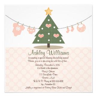 Convites cor-de-rosa do chá de fraldas do Natal