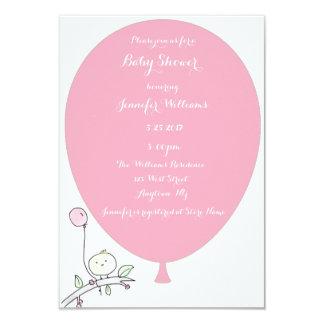 Convites cor-de-rosa do chá de fraldas do pássaro