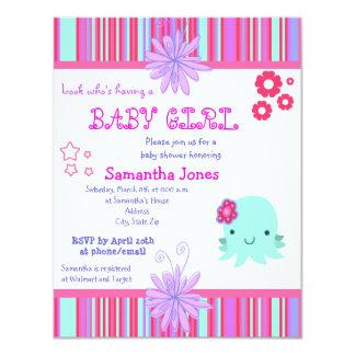 Convites cor-de-rosa do chá de fraldas do polvo