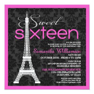 Convites cor-de-rosa do doce 16 de Paris