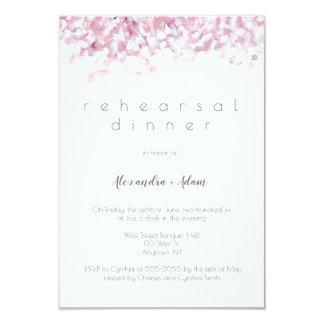 Convites cor-de-rosa do jantar de ensaio da flor