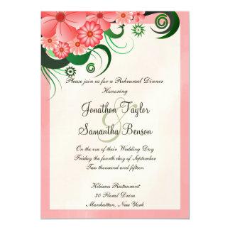 Convites cor-de-rosa do jantar de ensaio do
