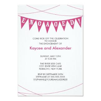 Convites cor-de-rosa do noivado da bandeira