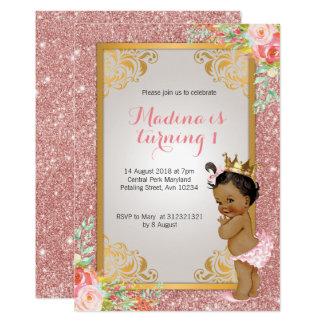 Convites cor-de-rosa do primeiro aniversario do