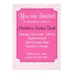 Convites cor-de-rosa na moda do chá de fraldas