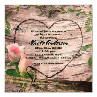 Convites cor-de-rosa rústicos do vidoeiro branco