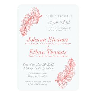 Convites corais do casamento do Birds of a Feather