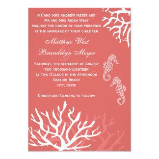 Convites corais do casamento do cavalo marinho do