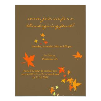Convites da acção de graças, folhas de bordo convite 10.79 x 13.97cm