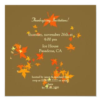 Convites da acção de graças, folhas de bordo convite quadrado 13.35 x 13.35cm