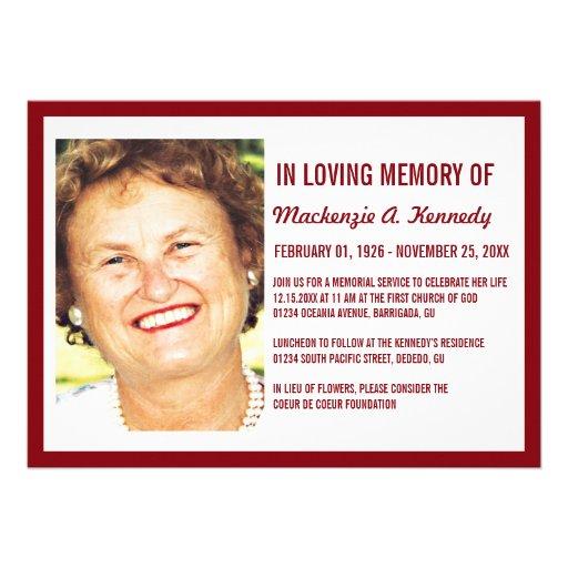 Convites da cerimonia comemorativa ou do funeral d