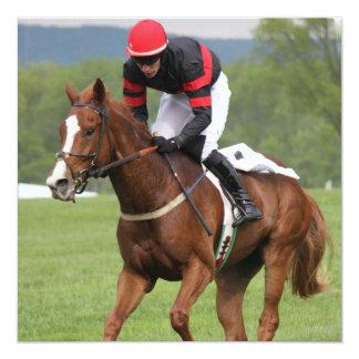 Convites da corrida de cavalos do relvado convite quadrado 13.35 x 13.35cm