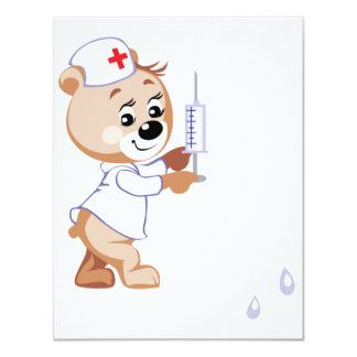 Convites da enfermeira do urso de ursinho