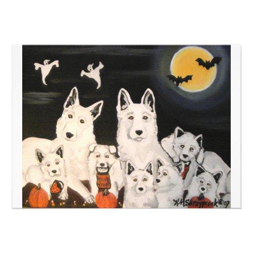 Convites da família de cão do Dia das Bruxas