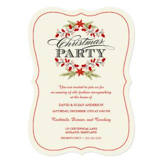 Convites da festa de Natal da grinalda do azevinho